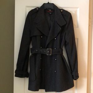 Women's grey peacoat double breasted